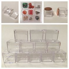 Small Acrylic Storage/display Box Pills Seeds Dice Marbles Screws Pins Lot 12/24 #Unbranded