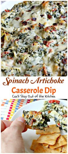 Spinach Artichoke Casserole Dip – Can't Stay Out of the Kitchen Spinach Gratin, Spinach Casserole, Casserole Recipes, Appetizer Dips, Appetizer Recipes, Dip Recipes, Spinach Rolls, B Recipe, Good Food