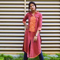 Rustorange Multicoloured Striped Khadi & Mangalgiri Cotton Kurta