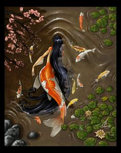 This is Koi. She is 18 and can become a koi fish( her namesake) she was imported from Asia to a pond in Japan. She is very shy. She loves all the koi fish in the pond Rikki H2o, Mermaid Illustration, Mermaid Photos, Mermaid Images, Art Asiatique, Mermaids And Mermen, Fantasy Kunst, Merfolk, Mythological Creatures
