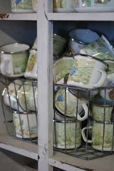 Golden Rabbit enamelware cups at Schuyler Pond.