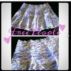 New Free People Soft Grey Distress Skirt Make an offer!BRAND NEW!! Super sexy and very flowy! Has red and blue stripe design print and zipper side closure:) Free People Skirts