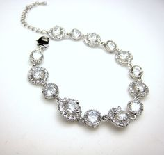 Bridal Jewelry Wedding Bracelet by DesignByKara. Removing the dark stone would allow space for this bracelet to be converter to a special occasion MedicAlert ID