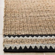 Shop Safavieh Handmade Natural Fiber Hijiri Boho Jute Rug - On Sale - Overstock - 22713158 - x - Black Natural Fiber Rugs, Natural Rug, Jute Rug, Woven Rug, Burlap Rug, Braided Area Rugs, Rug Making, Rug Runner, Colorful Rugs