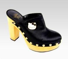 An image of Hello Kitty Black Clogs: Adelina