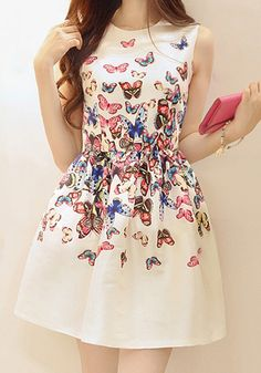 White Butterfly Print Pleated Round Neck Sleeveless Dress