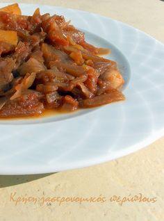 Κρήτη:γαστρονομικός περίπλους: Πατάτες στιφάδο Waffles, Bacon, Vegan Recipes, Potatoes, Beef, Chicken, Breakfast, Food, Meat