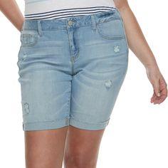 d6fa511710 Juniors' Plus Size SO? Roll Cuff Bermuda Shorts Junior Plus Size, Juniors  Shorts