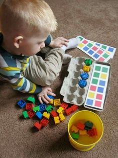Montessori from egg boxes Montessori Activities, Preschool Learning, Infant Activities, Fun Learning, Preschool Activities, Art Activities For Preschoolers, Montessori Baby, Learning Colors, Teaching Math