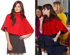 Go grab the sparkling cider, because if Rachel is wearing Forever 21 again, that is definitely cause for celebration! Thanks dresslikerachelberry! Forever 21 Double-Breasted Fleece Cape - $20.88 Worn with:American Apparel skirt, Prada pumps Also worn in: 3x13 'Heart'