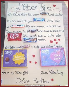 Vatertagsgeschenk # Süßigkeiten # You are in the right place about DIY Father's Day gifts Here we offer you the most beautiful pictures about the DIY Father's Day presents you are looking for. Children's Day Gift, Fathers Day Gifts, Gifts For Dad, Diy Couture Cadeau, Wedding Anniversary, Anniversary Gifts, Holiday Break, Father's Day Diy, Child Day