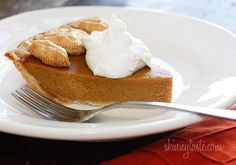 Skinny Pumpkin Pie - A Thanksgiving dessert table is never complete without the pumpkin pie.