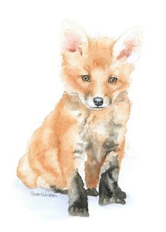 Baby Fox watercolor giclée reproduction. (Original has been sold.) Portrait/vertical orientation. Printed on fine art paper using archival pigment inks. This quality printing allows over 100 years of