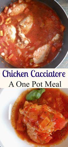 Chicken Cacciatore, an easy Italian classic, a delicious one pot family healthy chicken recipe. Perfect alone or served over rice or pasta.|anitalianinmykitchen.com