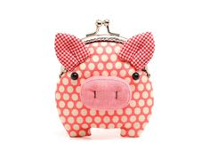 Little salmon pink piggy clutch purse. $27.90, via Etsy.