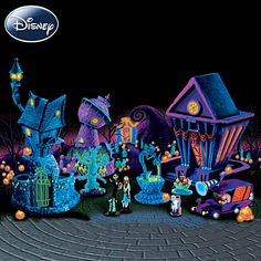 Nightmare Before Christmas Black Light Village Set - love how everything glows under the black light (which is included)