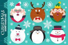 Round Flat Christmas Characters By Pixaroma