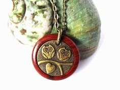 Owl Necklace Redheart Wood Brass Owls Charm Eco by Hendywood, $25.00