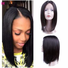 Brazilian Middle Part Lace Frontal Bob Wigs For Black Women Glueless Lace Frontal Wigs Brazilian Virgin Straight Lace Front Wig