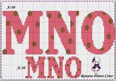 Monograma com bolinhas Plastic Canvas Letters, Plastic Canvas Stitches, Abc Alphabet, Alphabet And Numbers, Cross Stitch Alphabet Patterns, Cross Stitch Embroidery, Crochet Letters, Canvas Patterns, Embroidery Alphabet
