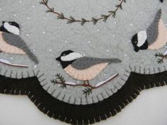 Penny Rug Candle Mat Pattern Cheerful Chickadees Set | eBay