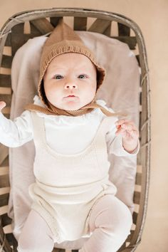 Adorable knit baby romper, delicate and sweet for your baby girl! Shortie Romper- Cream