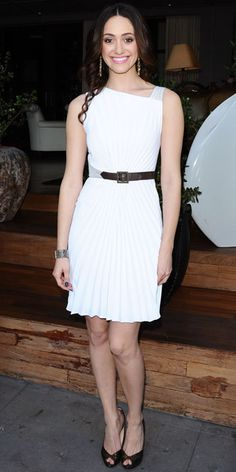 Emmy Rossum in pleated Andrew Gn white dress in Santa Monica, CA