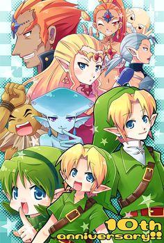 The Legend of Zelda: Ocarina of Time   Young Link, Adult Link, Adult Princess Zelda, and Ganondorf, and the Sages (Rauru, Saria, Darunia, Princess Ruto, Impa, and Nabooru) / Ocarina of Time is 10th by kiyoichi on deviantART