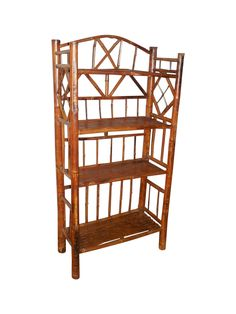 Vintage Scorched Bamboo Etagere on Chairish.com