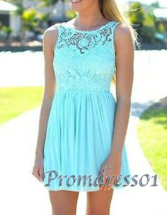 Simple cyan lace round neck prom/bridesmaid dress #promdress #homecoming