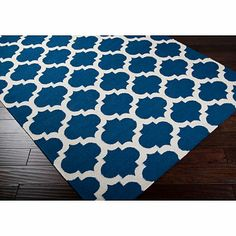 Evesham Rug in Royal Blue/Ivory - BedBathandBeyond.com $139 3x8