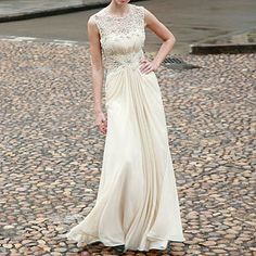 Ecru Embroidered A Line Wedding Dress - wedding fashion