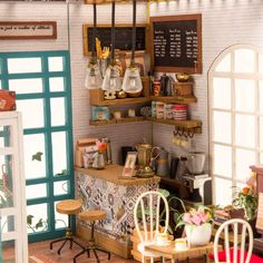 QLCRAFT Wooden Dollhouse Miniature DIY Coffee Shop Toy Furniture Included Wooden Kit to Build Christmas Birthday Gift for Daughter or Girlfriend -- Learn more by visiting the image link-affiliate link. Dollhouse Toys, Wooden Dollhouse, Wooden Dolls, Dollhouse Miniatures, Woodcraft Construction Kit, Diy Casa, Cafe House, Kit Homes, Wooden Diy