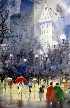 """Girl with the Red Umbrella"" by Ron Stocke - watercolor"