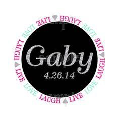 Live Laugh Love Chocolate Kiss Glitter Bat Mitzvah Logo