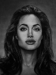 Kelvin Okafor Art: Angelina #Jolie  #portrait  Medium: Graphite pencils on sketching paper.