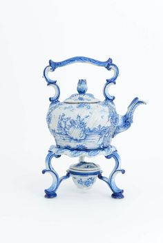 18th century Dutch Delft blue and white rococo hot water kettle (teapot) on stand with covered spirit burner, man and woman in pastoral scene, flowerbud shape knob, c. 1765, tin-glazed ceramic, Holland/The Netherlands