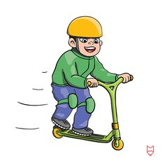 Extreme sports, teenager on kick scooter at roller park. Scooter Drawing, Boy Drawing, Cartoon Illustrations, Kick Scooter, Extreme Sports, Cartoon Images, Character Illustration, Kicks, Stock Photos