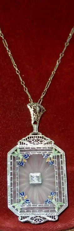 VINTAGE 14KT ART DECO CAMPHOR GLASS DIAMOND FILIGREE NECKLACE