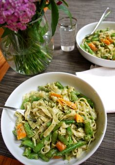 Pasta with Spring Vegetables and Garlic Scape Pesto