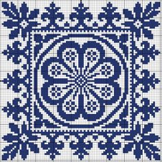 More square tiles - Chart for cross stitch or filet crochet. Biscornu Cross Stitch, Cross Stitch Borders, Cross Stitch Charts, Cross Stitch Designs, Cross Stitching, Cross Stitch Patterns, Blackwork Embroidery, Cross Stitch Embroidery, Embroidery Patterns