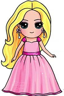 Cute people drawings More at @ Kawaii Girl Drawings, Sweet Drawings, Cute Disney Drawings, Cute Easy Drawings, Cute Girl Drawing, Pretty Drawings, Drawing Disney, Barbie Drawing, Kawaii Disney