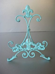 Aqua Blue Easel Metal Easel Book Stand Art Prop Shabby by Swede13, $18.00