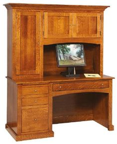 Amish Vintage Mission Computer Desk Picture yourself working at this vintage computer desk. Everything you need is at your fingertips. Includes adjustable shelves, writing tray, keyboard pullout, and much more. Built in America in choice of wood, stain and hardware. #desk #computerdesk #office