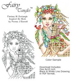 Holly & Mistletoe - 8x10 Fairy-Tangles™ coloring sheet by Norma J Burnell