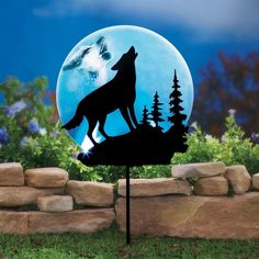 Solar-powered Howling Wolf at Moon Solar Garden Stake Stunning Silhouette Decor #WolfGardenStake #GardenStake #Wolf #Lights #LED #YardDecor #Silhouette #SolarPowered #Solar #HomeDecor #Holiday #HolidayDecor #Seasonal