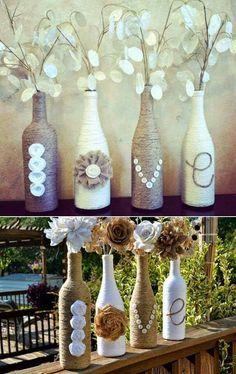 Wrapped wine bottles, wine bottle vases, empty wine bottles, wine b Wrapped Wine Bottles, Wine Bottle Vases, Wine Bottle Crafts, Bottle Art, Twine Bottles, Wine Bottle Decorations, Reuse Bottles, Diy Bottle, Glass Bottle