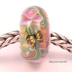 Yellow Butterfly Garden Glaslight Artisan Handmade Lampwork Glass Murano Dichroic Sparkle European Charm BHB Bead SRA