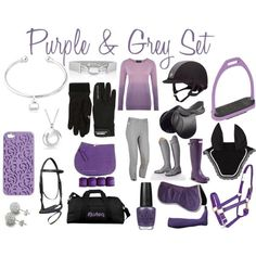 Purple and Grey Set by equestrierin on Polyvore featuring Viyella, ToeSox, Hunter, Gemma J, Bling Jewelry, White House Black Market, Dainese, OPI, horses and equestrian