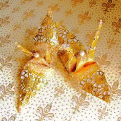 Gold Doily Peace Crane Wedding Cake Topper Favor by localcolorist, $10.00